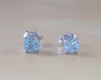 925 Blue Topaz Stud Earrings/Sterling Silver Topaz Earrings/Topaz Jewelry/November Birthstone/Topaz Jewellery/Topaz Jewelery
