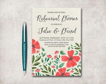 Wedding Rehearsal Invitation Printable, Wedding Rehearsal Dinner Invitation, Floral Wedding Rehearsal Invitation, Red Poppy Invitation