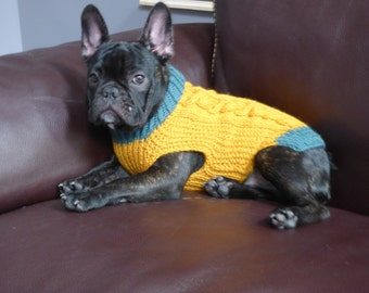 100% Wool - Cable Knit Mustard and Jade Green Dog Sweater - Size Medium - READY TO SHIP