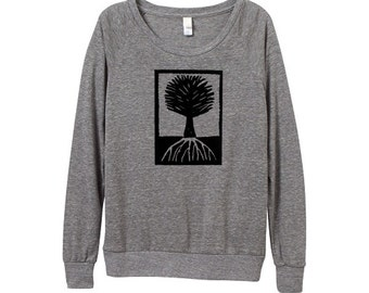 Womens Tree Sweater - Heather Grey Tree - Block Print - In Small, Medium, Large, XL