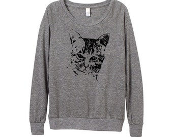Womens Wild Cat Sweater - Heather Grey Cat Slouchy - In Small, Medium, Large, XL