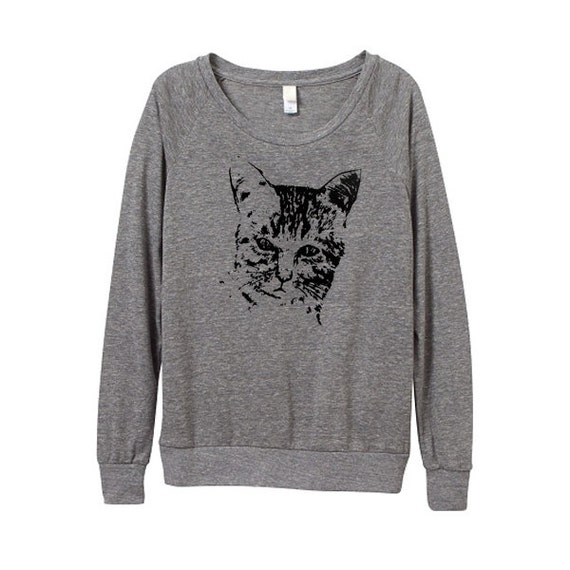 Women Cat Top - Womens Cat Sweater -Cat Sweater -  Heather Grey Top  - In Small, Medium, Large, XL