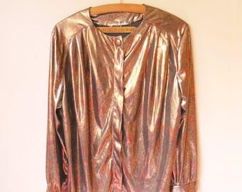 vintage 1980s gold paisley print blouse