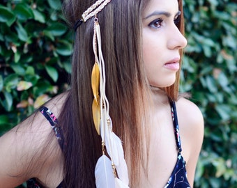 THE MIKA - White Gold Tribal Side Feather Headband, Bohemian, Hipster, Festival, Feather Headdress, Native American Headdress Pocahontas