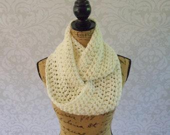 Infinity Scarf Crochet Knit Winter White Ivory Women's Accessories Eternity Fall Winter