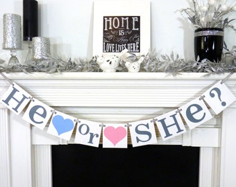 He or She? Banner / Gender Reveal Party Decoration / Baby Announcements / Baby Shower / Nursery Garland Sign / Baby Onesie