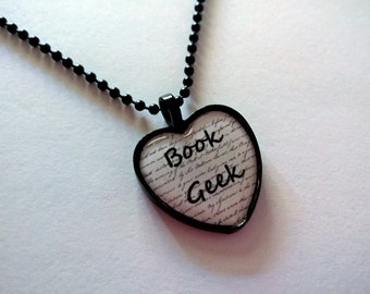 Book Geek Black and White Heart Shaped Cameo Necklace