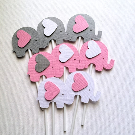 Gianna S Pink And Gray Elephant Nursery Reveal: Elephant Cupcake Toppers In Pink White & Gray. Baby Shower