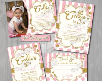 Gold and Pink Birthday party Invitation,Pretty in Pink birthday Invitation,Printable Gold Birthday Party Invite,First Birthday, 1st Birthday