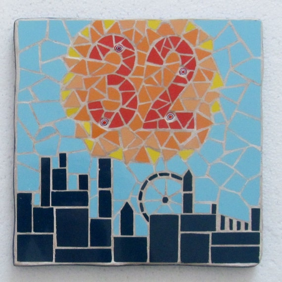 Decorative House Number In Mosaics Mosaic House Sign Plaque