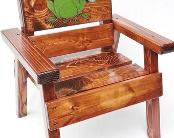 Whimsical Painted Wood Kids Chair, First Birthday Gift Boy/Girl, Outdoor Furniture For Children, Toddler+, Engraved Frog & Butterfly