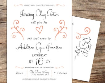 Printable Wedding Invitation and RSVP Suite Set-Print Yourself-Digital Invite