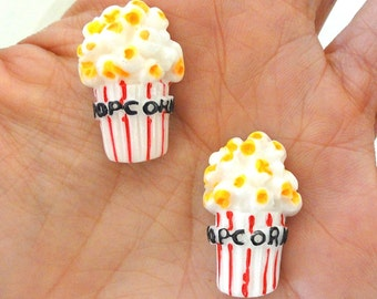 5 pcs - Kawaii Popcorn Resin Flatback Cabochon - 25mm - Kitsch - Movies - Decoden - DIY - Scrapbooking