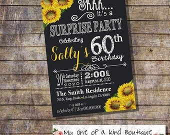 Birthday invitation surprise adult party invite sunflower chalkboard 30th 40th 50th 60th any age occasion digital printable invitation 13656