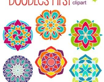 Colorful Mandalas Digital Clip Art for Scrapbooking Card Making Cupcake Toppers Paper Crafts