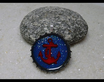 Bottle Cap Art - 3D Red Anchor. Pendant/or Magnet