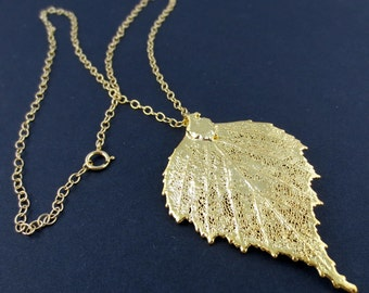 Genuine Birch Leaf Necklace/Nature Jewelry/Gold Birch Leaf Necklace/Natural Birch Leaf/Botanical Jewelry/Organic Jewelry/Gold Birch Pendant
