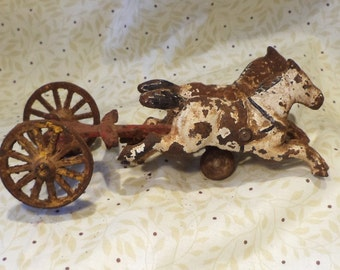 Horse Cast Iron Toys, Old Pair of Horses with Chariot, Salvaged Antique Toy