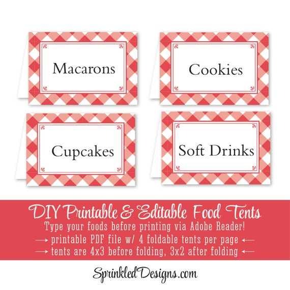 Red Checked Gingham Printable Party Food Tents - Folding Editable Buffet Food Labels Escort Place Cards - Cayenne Gingham Picnic BBQ Plaid  sc 1 st  Etsy & Red Checked Gingham Printable Party Food Tents Folding