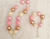 Baby Toddler Girls Birthday Pink Gold Ivory Rhinestone Number Sparkle Chunky Bubblegum Necklace and Bracelet Set.