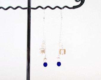 Blue and peach crystal earrings, handmade in the UK