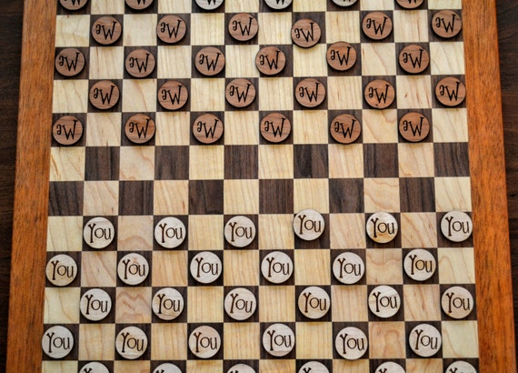 """Canadian Draughts with personalized pieces!  With 30 checkers per side, this """"checkers on steroids"""" game will make you re-think Checkers!"""