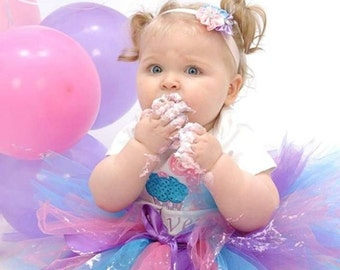 1st Birthday Cupcake Tutu / Pink, Blue, Purple Tutu