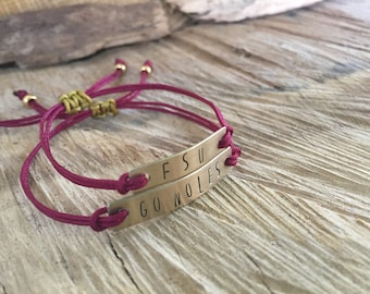 Go Noles / FSU /  Adjustable Dainty Cording Bracelet