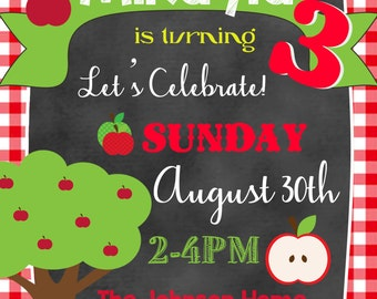 Apple Picking Birthday Invitation