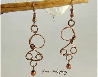 Wire Worked Copper Wire Earrings with Side Circle and Triple Loops