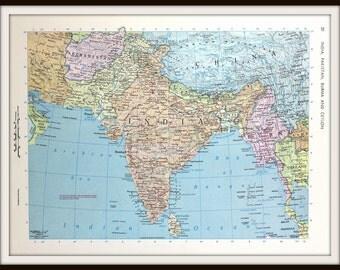 India Map, 12 x 9 Book Plate, Includes Pakistan, Burma, Ceylon, Paper Ephemera, Large 1960's Map, Ready to Frame