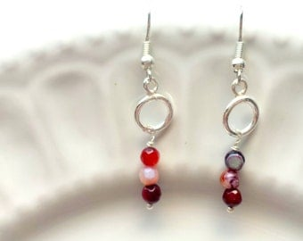 Agate earrings, Red earrings, Gemstone earrings, Silver earrings, Dangle earrings, Elegant earrings, Delicate earrings, Dainty jewelry