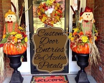 Custom Fall Door Entrance Decor, Scarecrow Front Door Topiaries, Harvest Urns, Fall Pumpkin Arrangement Home Decor, Door Wreath