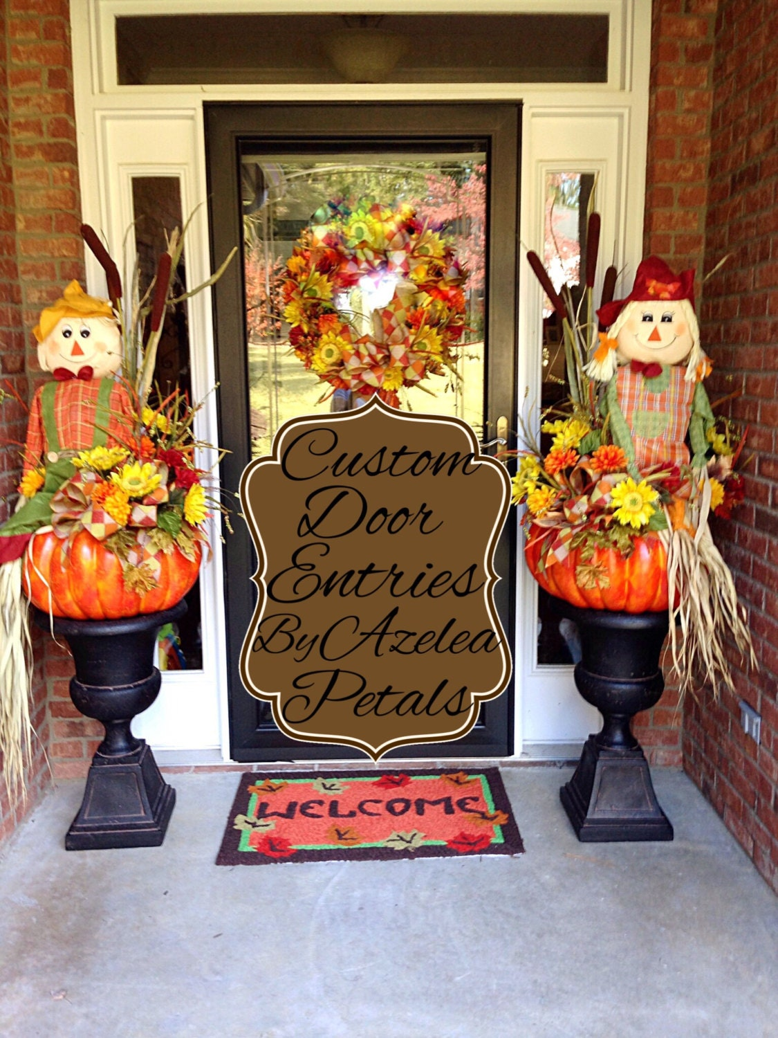 Custom fall door entrance decor scarecrow front door for Harvest decorations for the home