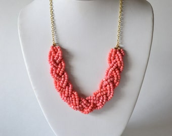 Coral Statement Necklace // Coral Pink Seed Bead Braid Necklace with Silver or Gold Finish