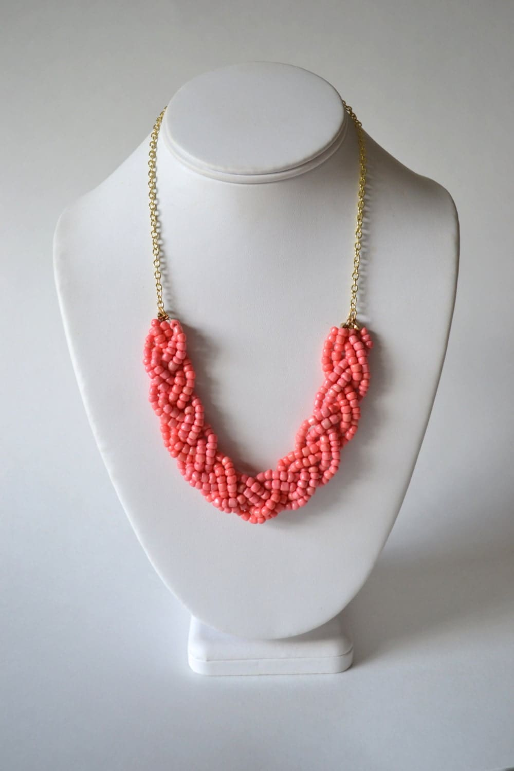coral statement necklace coral pink seed bead braid