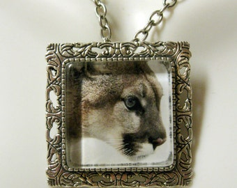 Mountain lion convertible pendant or brooch with chain - WAP35-012
