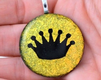 """Dichroic Fused Glass """"Crown"""" Pendant 1 inch"""