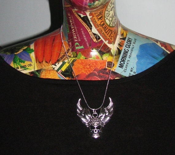 Winged Skull Statement Jewelry Silver Chain Necklace