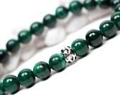 925 Sterling Silver Malachite Bracelet - Gemstone Bracelet, Green Jewelry, For Her, Stretch Bracelet, Green Elastic Bracelet