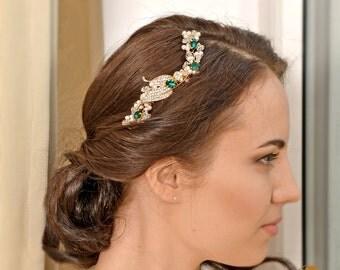 Wedding hair piece, Bridal Headpiece, Bridal hair comb, Wedding hair comb,Emerald Green Headpiece, Bridal Comb Prom Headpiece-EMERALDINE