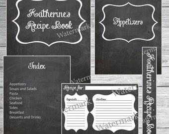 Recipe Book Binder Kit - Chalkboard - Printable (Custom)