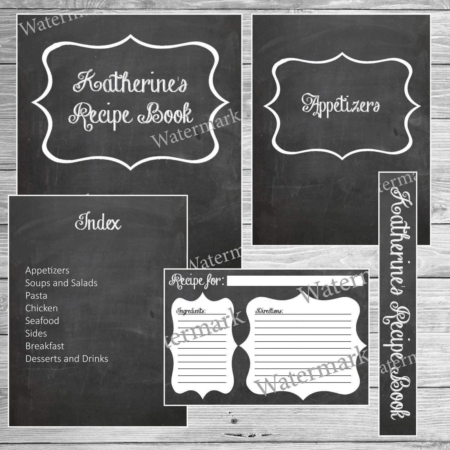 Recipe Book Binder Kit Chalkboard Printable Custom