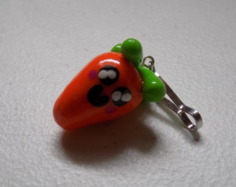 Small Carrot Polymer Clay Charm