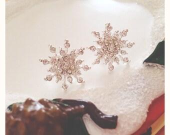 Silver snowflake earrings with Rhinestones