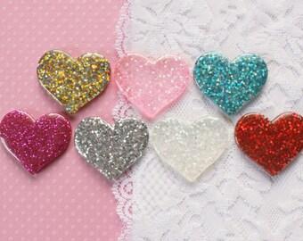 7 Pcs Big Assorted Glittery Heart Cabochons - 36x30mm