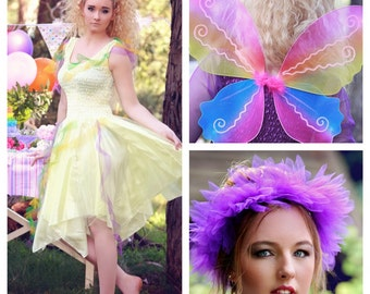 Adult Plus Size Halloween Fairy  Dress ~ Mardi Gras Costume ~ Masquerade Parade ~ Headpiece and Wings