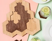 Rosh Hashanah  original gift from Israe -Pomegranate and honey hive Puzzle + Set of coasters+a trivet Passover gift Oak and walnut veneer