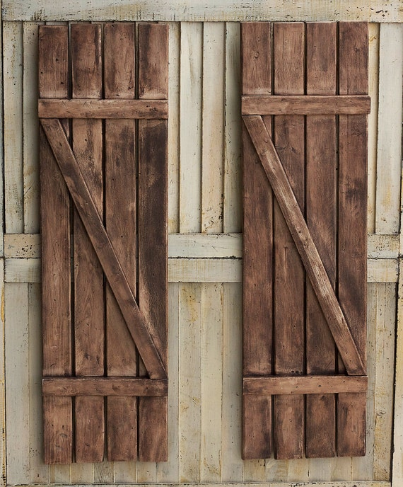 Rustic shutters farmhouse shutters country shutters for Wood doors and shutters