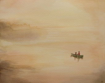 Canoe in Fog, Man and Dog, Boating at Dawn, 8 x 10, Watercolor, Giclee Print